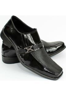 Sapato Social Masculino Verniz Garra - Masculino-Preto