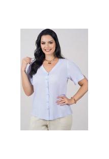 Blusa Ampla Almaria Plus Size New Umbi Botões Frontais Azul