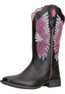 Bota Texana Capelli Cano Longo Bordado 58147 Pink