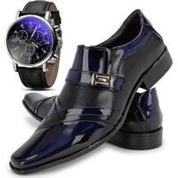 dee013c352 Kit Sapato Social Verniz Com Relógio Gofer 0751L Azul