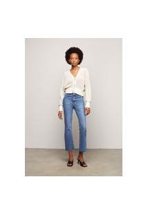 Calça Jeans Cropped Flare - Azul