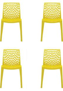 Conjunto De 4 Cadeiras Gruv Amarela