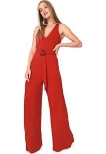 Macacão Forum Pantalona Com Fivela Vermelho