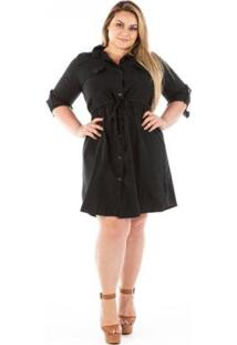 Vestido Confidencial Extra Plus Size Chemisie Jeans London - Feminino-Preto