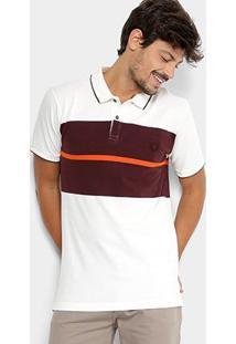 Camisa Polo Forum Faixa Masculina - Masculino-Branco+Vinho