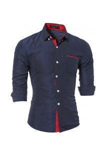 Camisa Masculina Textura De Bolinha 7676 - Azul Escuro