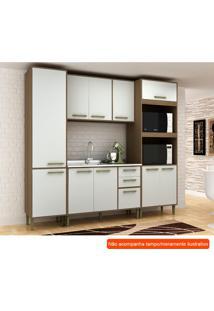 Cozinha Compacta Vitória 10 Pt 3 Gv Branca E Avelã