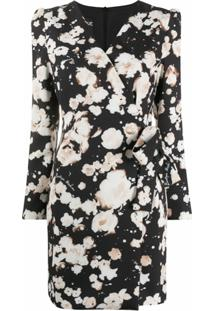 Boutique Moschino Vestido Envelope Com Estampa Floral - Preto