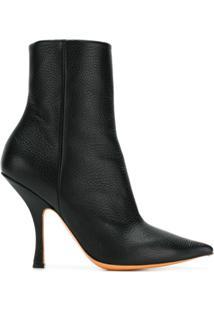 Y/Project Ankle Boot De Couro Bico Fino - Preto