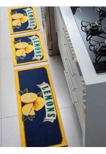 Jogo De Tapetes Para Cozinha Corttex Azul Marinho/Amarelo