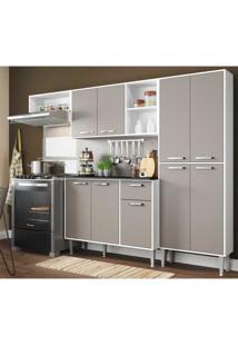Cozinha Compacta Xangai 9 Portas Multimã³Veis Branco/Laca Fum㪠Branco - Branco - Dafiti
