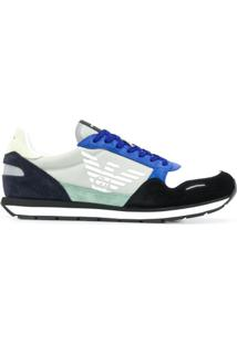 Emporio Armani Suede-Panel Low-Top Trainers - Azul