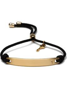 Pulseira Key Design Cris Preta/Dourada