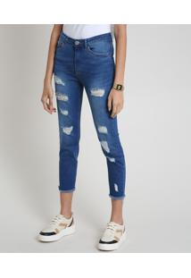 Calça Jeans Feminina Skinny Cintura Alta Destroyed Com Barra Desfiada Azul Médio