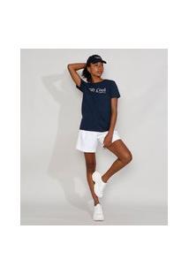 "T-Shirt Feminina Mindset Stay Cool"" Manga Curta Decote Redondo Azul Marinho"""