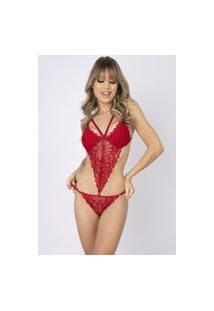 Body Sexy Bella Fiore Modas Renda Strappy Carine Vermelho