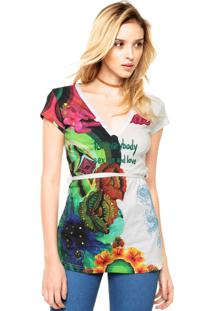Blusa Manga Curta Desigual Bordado Off-White