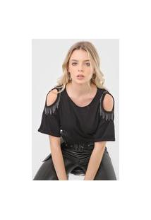 Camiseta Dimy Correntes Off Shoulder Preta