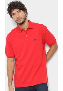 Camisa Polo U.S. Polo Assn Básica Lisa Masculina - Masculino-Vermelho