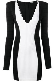 Balmain Vestido Slim Gola V - Preto