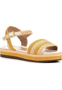 Sandália Shoestock Flatform Trança Feminina - Feminino-Amarelo