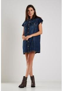 Colete Jeans Sacada Vintage Denin Feminino - Feminino-Azul