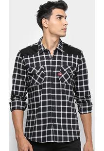Camisa Calvin Klein Masculino Manga Longa Xadrez Masculina - Masculino-Preto