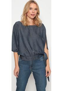 Blusa Jeans Com Vazado & Bordados - Azul Escuro - Momorena Rosa