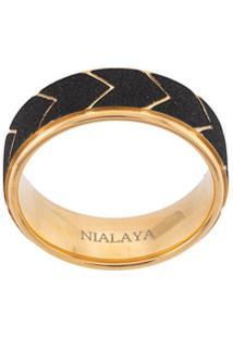 Nialaya Jewelry Anel Com Padronagem Geométrica - Dourado