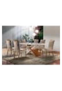 Conjunto De Mesa De Jantar Alice Com 6 Cadeiras Ciana Veludo Off White E Bege
