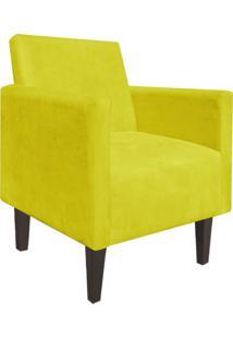 Poltrona Decorativa Compacta Jade Suede Amarelo Com Pés Baixo Chanfrado - D'Rossi