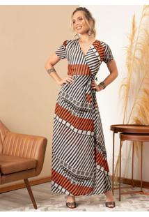 Vestido Longo Listrado Étnico Transpassado