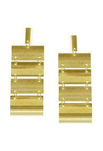 Brinco Com Detalhes Foscos E Lisos 3Rs Semijoias Dourado