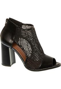 Sandal Boot Preta Em Trama Com Salto Bloco
