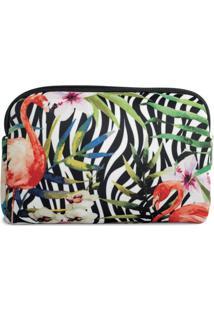 Necessaire Em Neoprene Tritengo - Zebra Flamingos Floral - Feminino