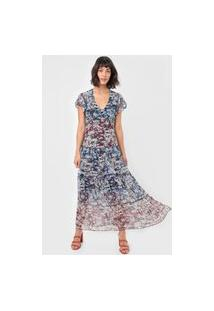Vestido Desigual Longo Tule Moscu Off-White/Azul