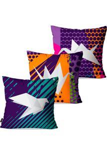 Kit Pump Up Com 3 Capas Para Almofadas Decorativas Roxo Origamis 45X45Cm - Roxo - Dafiti