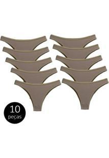 Kit Com 10 Calcinhas Conforto De Algodão Modelo Tanga - Feminino