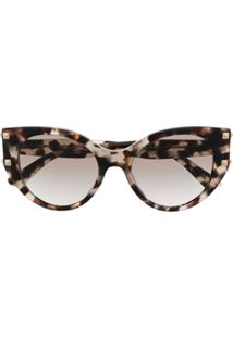 Valentino Eyewear Armação De Óculos Gatinho Tartaruga - Cinza