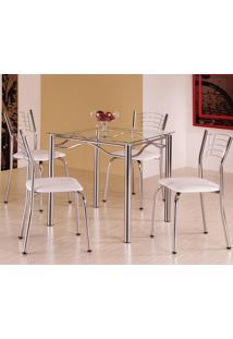 Conjunto De Mesa Quadrada Com 4 Cadeiras - Tampo Em Vidro - Aço Cromado