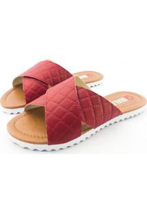 Rasteira Quality Shoes Feminina 008 Matelassê Vermelho 34 34