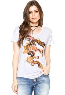 Camiseta Lez A Lez Floral Dragão Branca