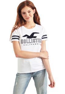 Camiseta Manga Curta Hollister Gráfica Branca