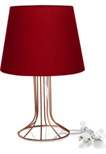 Abajur Torre Dome Vermelho Com Aramado Cobre - Vermelho - Dafiti