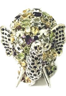 Enfeite Elefante De Prata Prata Mil C/ Pedras Naturais