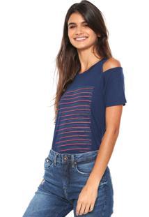 55fdbb26f8b1b R  114,99. Kanui Camiseta Calvin Klein Jeans Off Shoulders Azul-Marinho