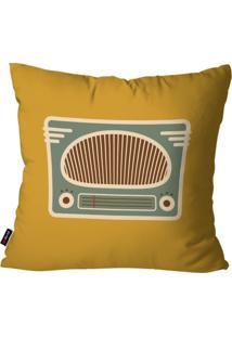 Capa De Almofada Pump Up Decorativa Avulsa Ocre Retrô Rádio Antigo 45X45Cm