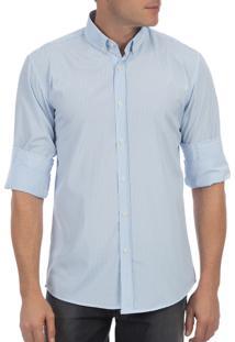 Camisa Social Colombo Manga Longa Listrada Azul