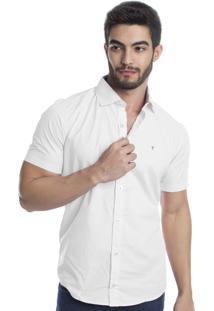 Camisa Tony Menswear Manga Curta De Algodão Branca