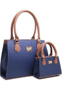 Kit Bolsas Gouveia Costa Handbag Tal Mãe Tal Filha Feminina - Feminino-Azul Claro+Marrom